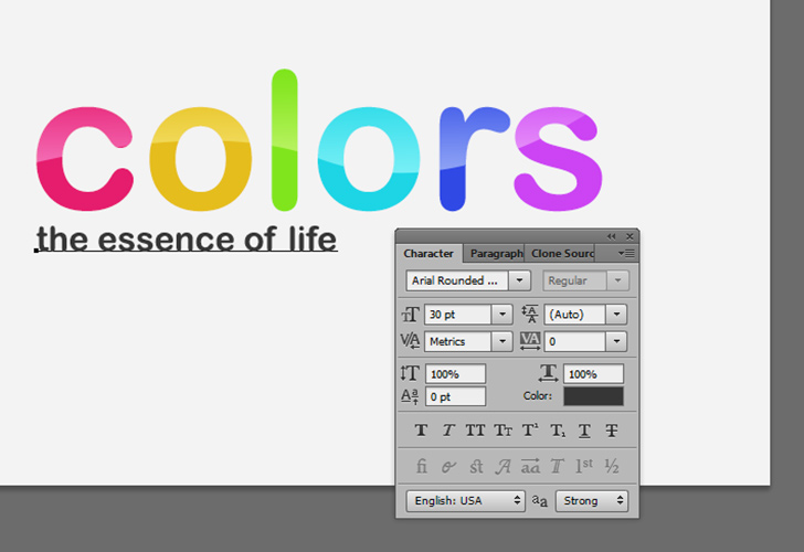 Colorful text step 8