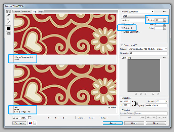 Optimize images for web in photoshop step 3