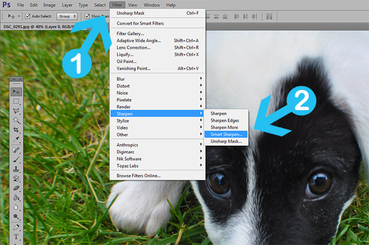 how to change an image sharpness on photodhop
