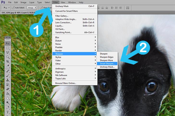 Photoshop smart sharpen step 1