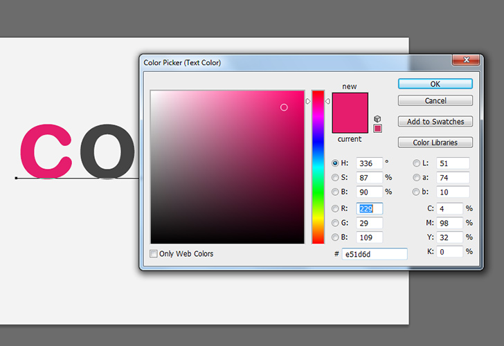 Colorful text tutorial step 4