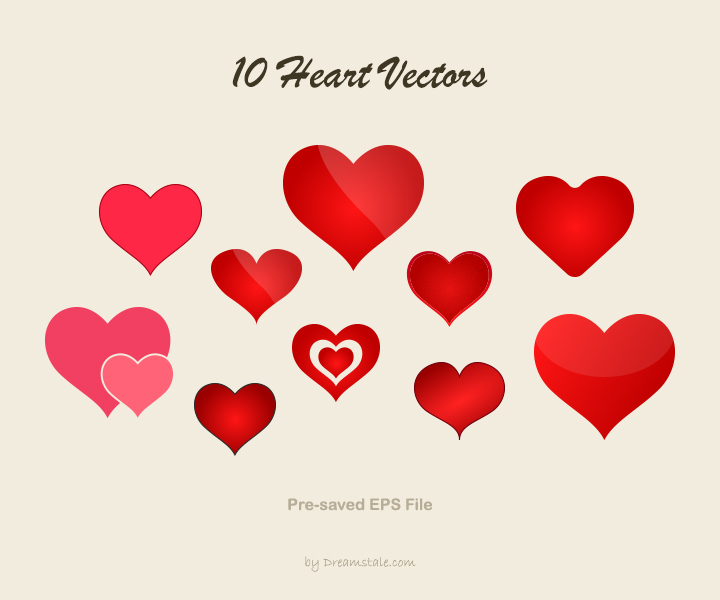 Downalod 10 heart vector shapes - preview