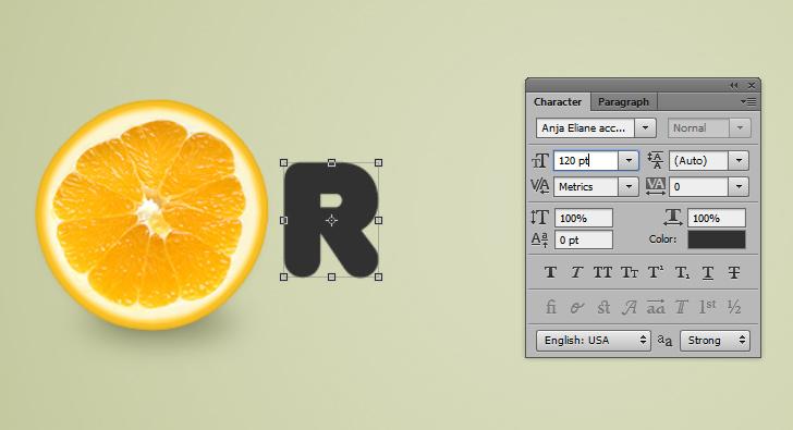 orange text effect step 10a
