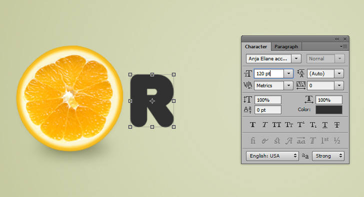 orange text effect step 10a