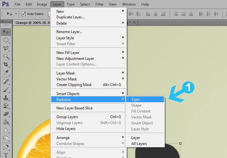 orange text effect step 10b
