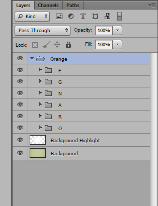 orange text effect step 13a