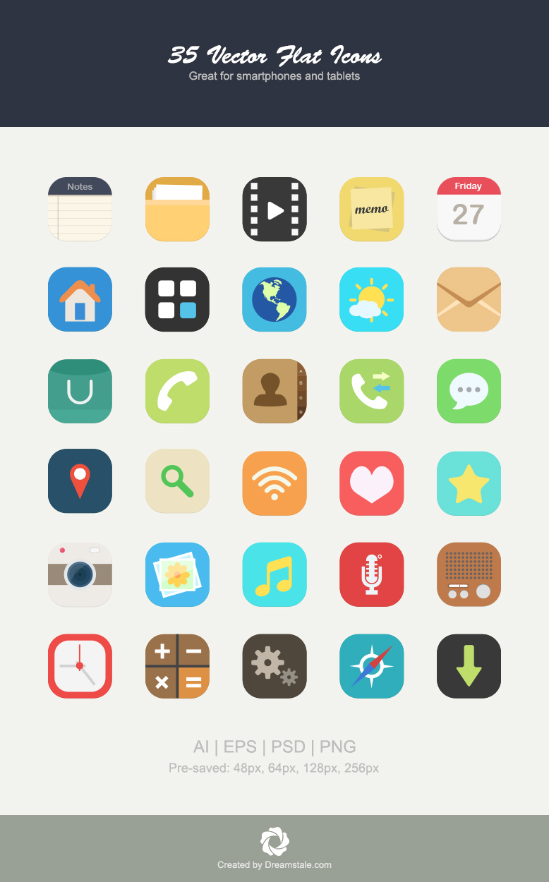 downalod 35 premium vector flat icons