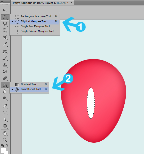 create party balloons in photoshop step 4a