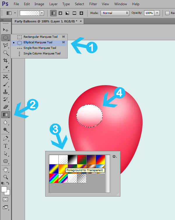 create party balloons in photoshop step 5
