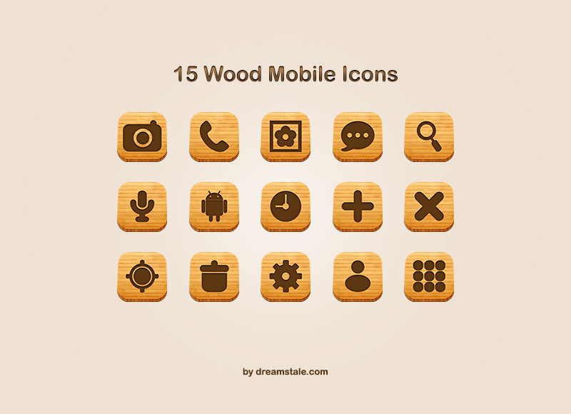 Download 15 Free Mobile Wood Icons