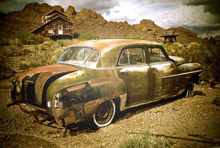 abandoned car lomo effect