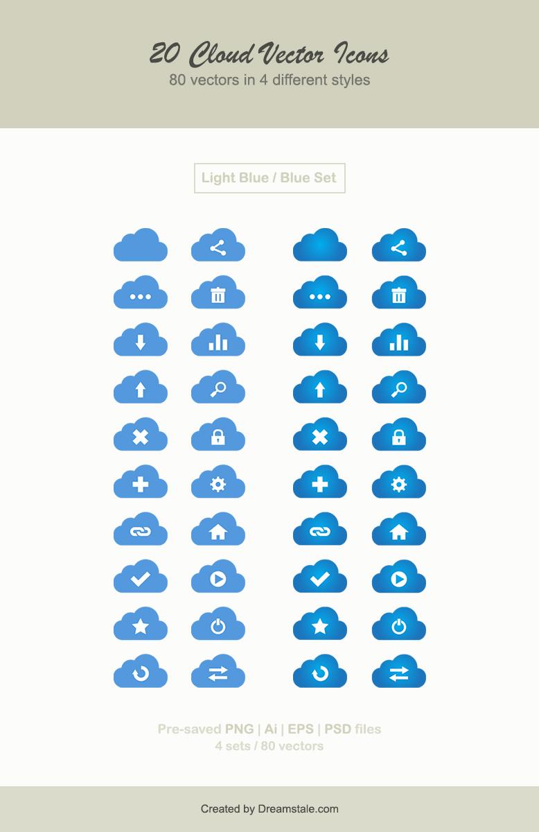 Download 20 cloud vector web icons
