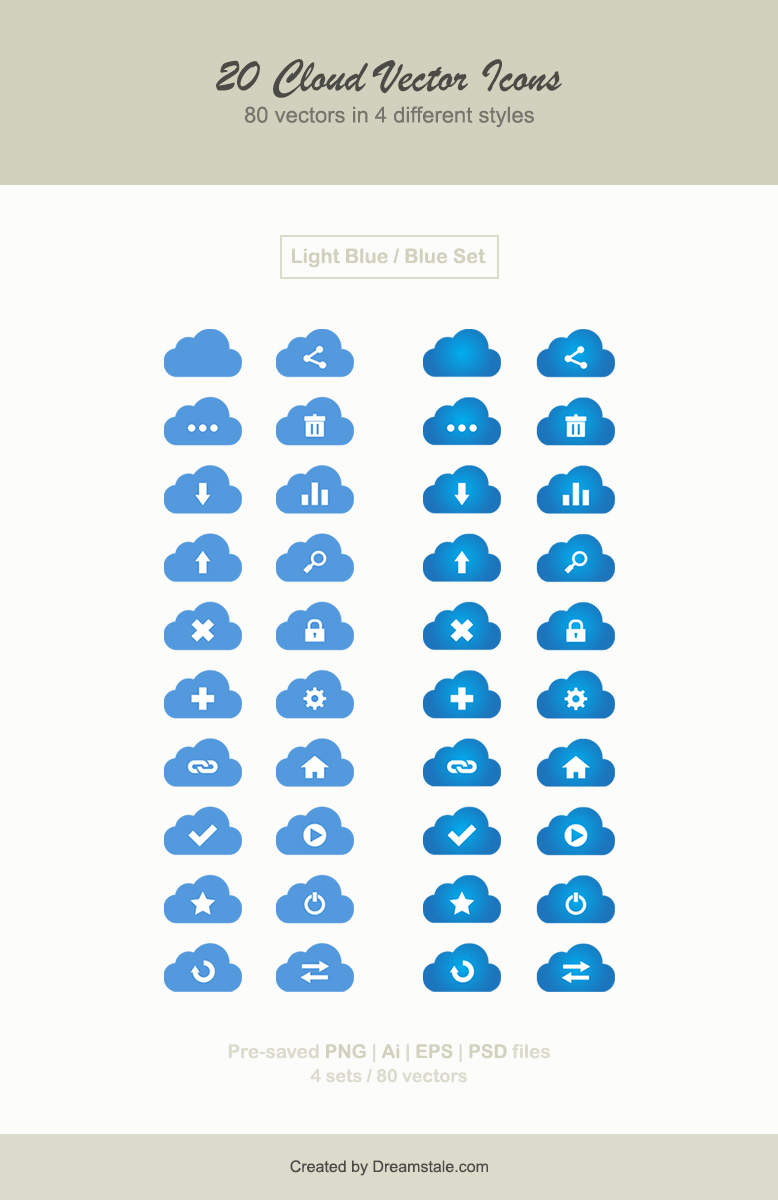 Download 20 cloud vector web icons