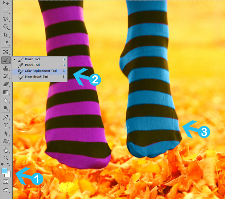 change colors with color replacement tool in photoshop