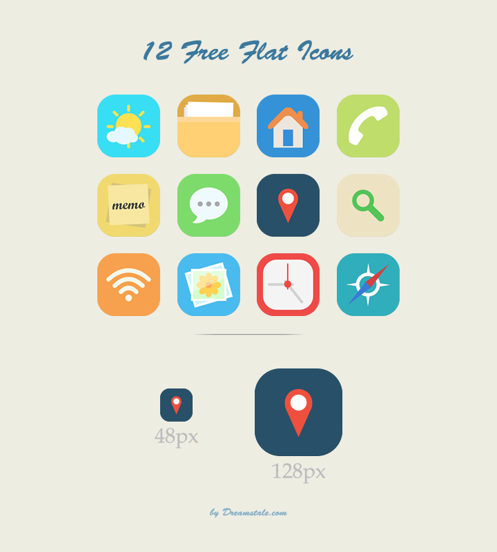 Free Download: 12 Vector Flat Icons