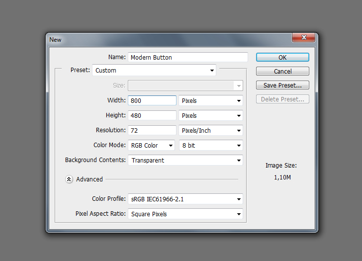 create modern web buttons in photoshop step 1