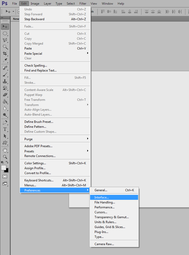 change photoshop interface color