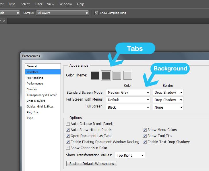 change photoshop interface color