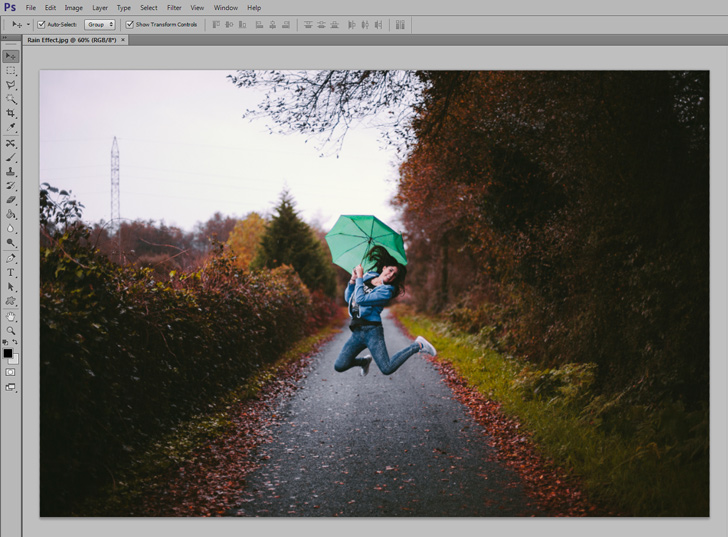 add realistic rain effect in photoshop step 1