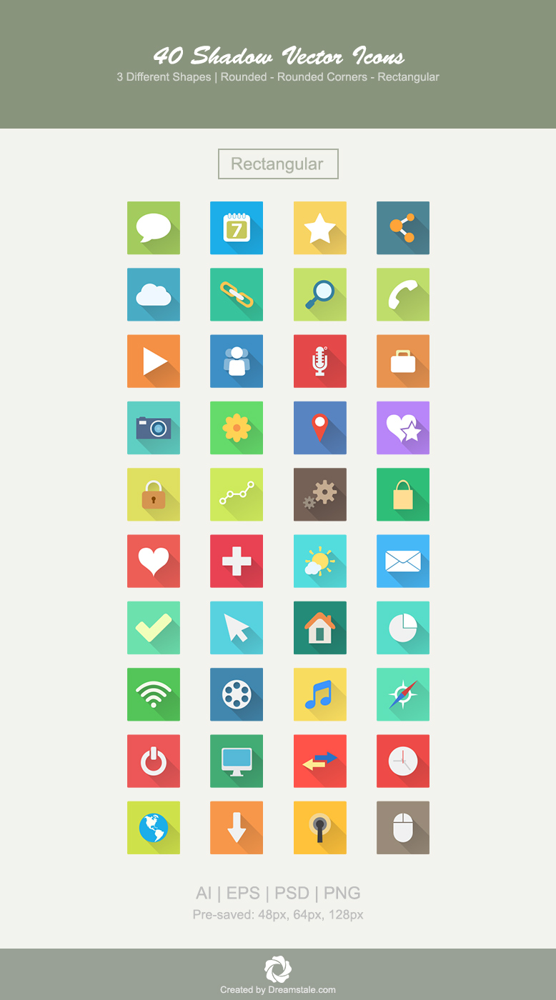 download 40 premium vector icons in 3 shapes - rectangular icons set