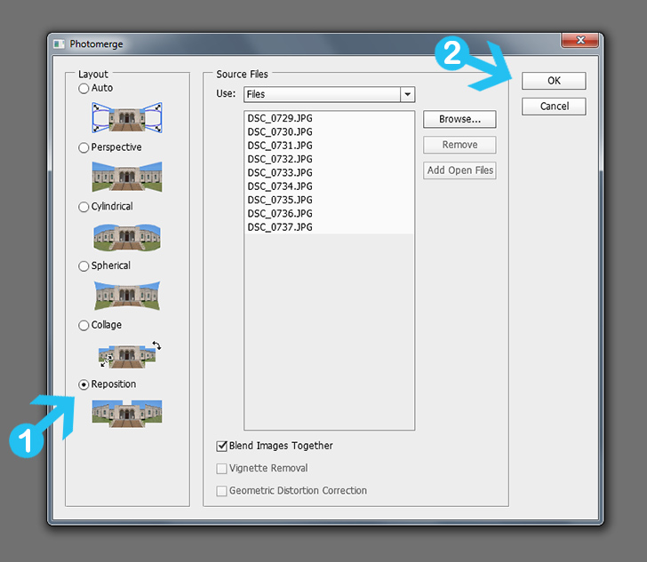 create panoramic photos in photoshop step 1c