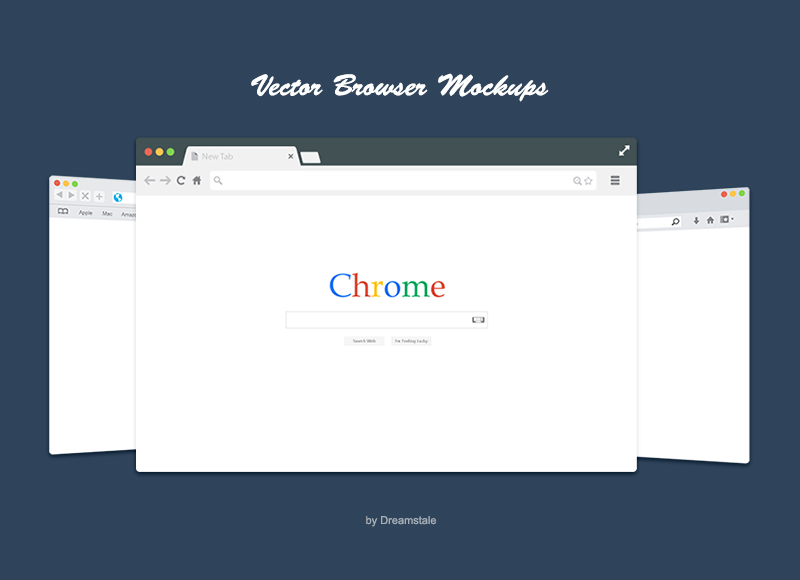 Free Flat Vector Browsers Set: 3d web browser