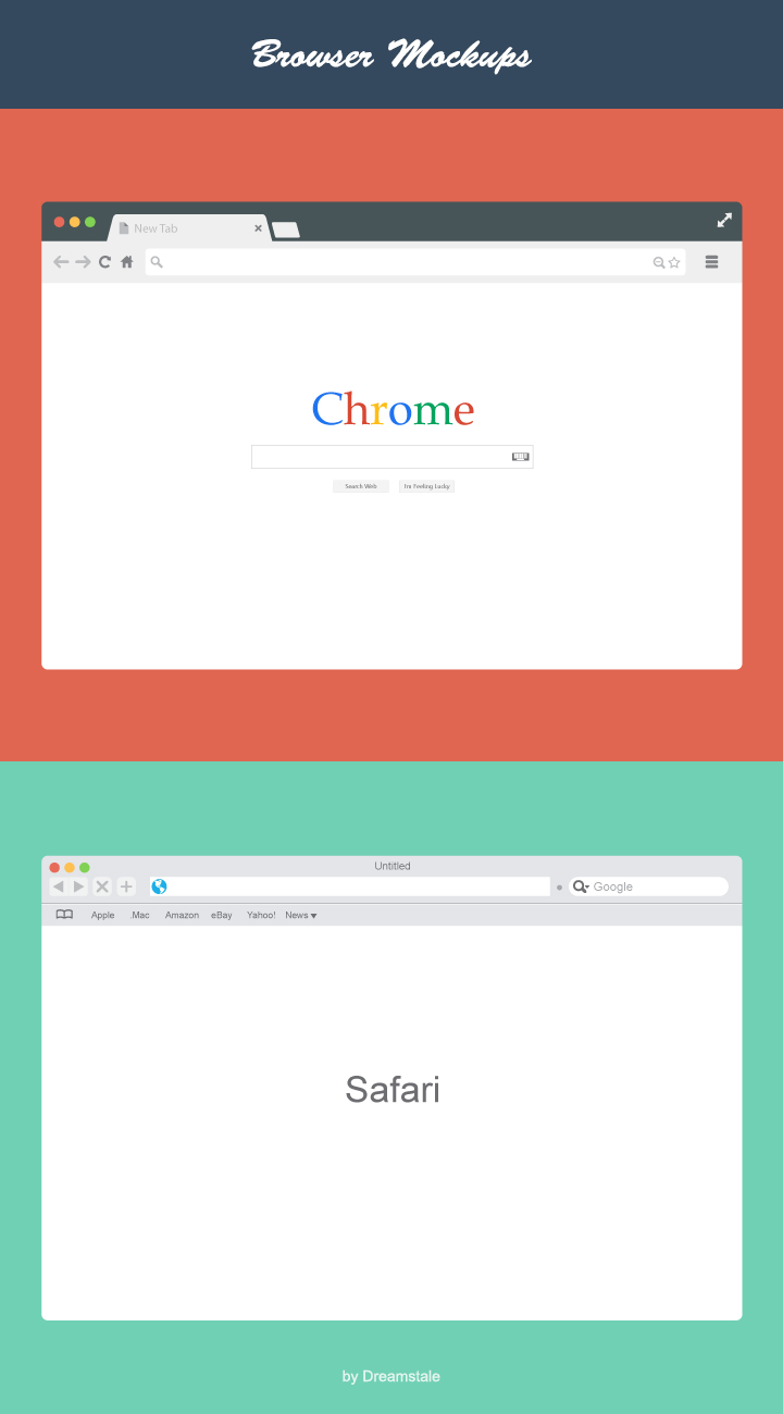 vector browser mockups - chrome and safari