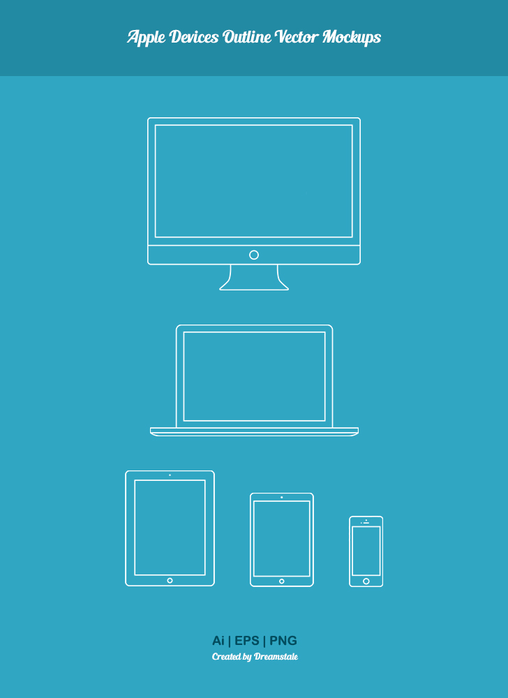 download free apple devices outline vector mockups - preview