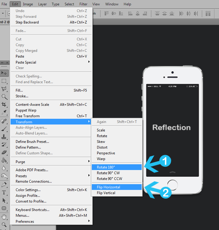quick tip: create a simple reflection in photoshop - step 2