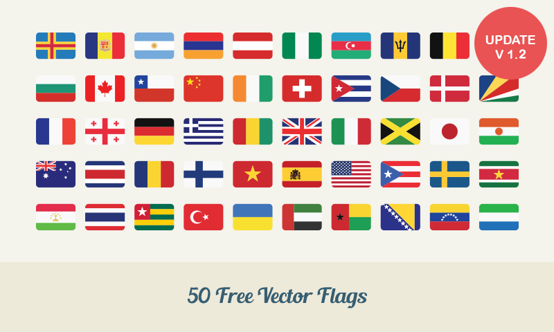 Free Download: 50 Flat Vector Flags