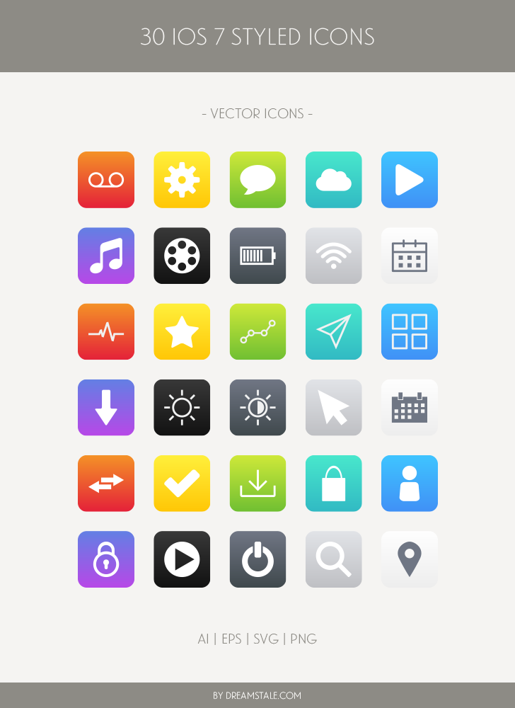 Free Download: 30 iOS Styled Vector Icons - Dreamstale