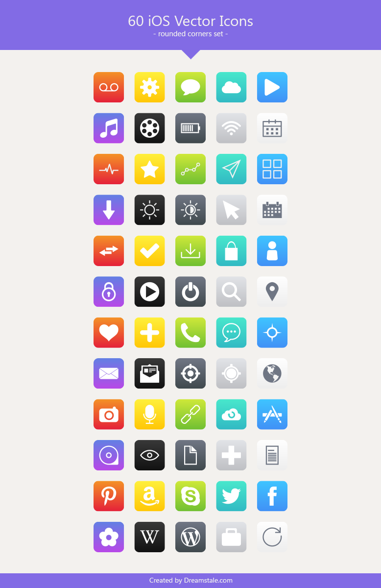 download 60 ios styled vector icons 1