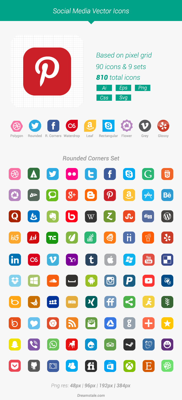Free Download 90 Vector Social Media Icons Dreamstale