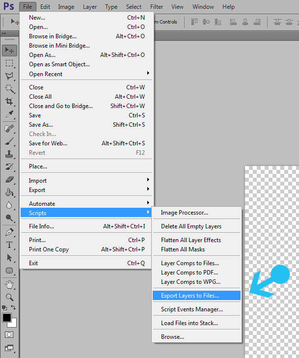 Export layers to seperate files in photoshop 2