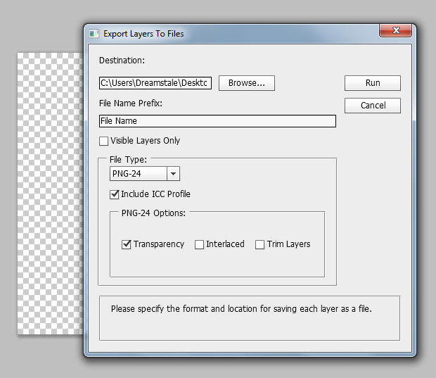 Export layers to seperate files in photoshop 3
