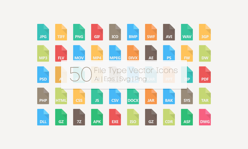 download 50 free file type vector icons