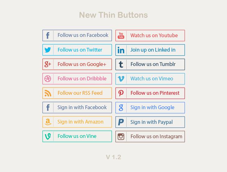 new thin social media buttons