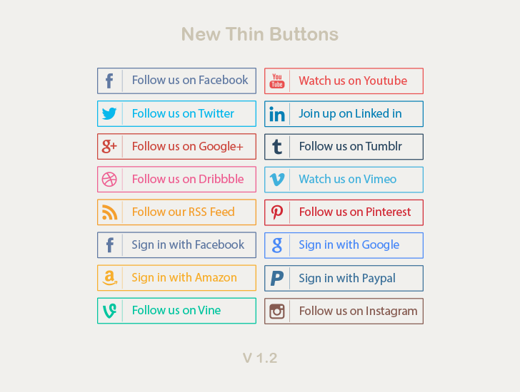 new thin social media buttons