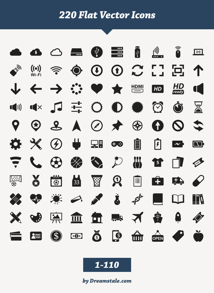 free download 220 flat vector icons 1