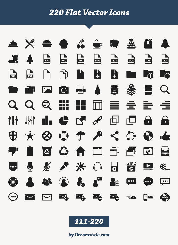 free download 220 flat vector icons 2