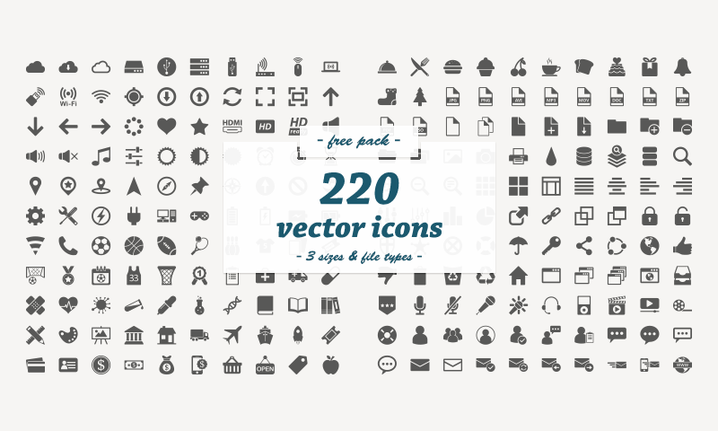 free download 220 flat vector icons