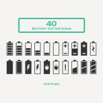 Free Download: 40 Battery Vector Icons