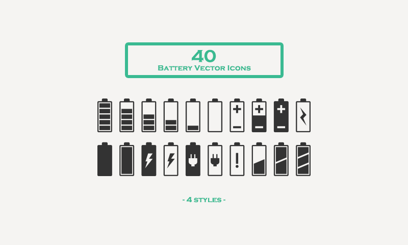 free download 40 battery vector icons