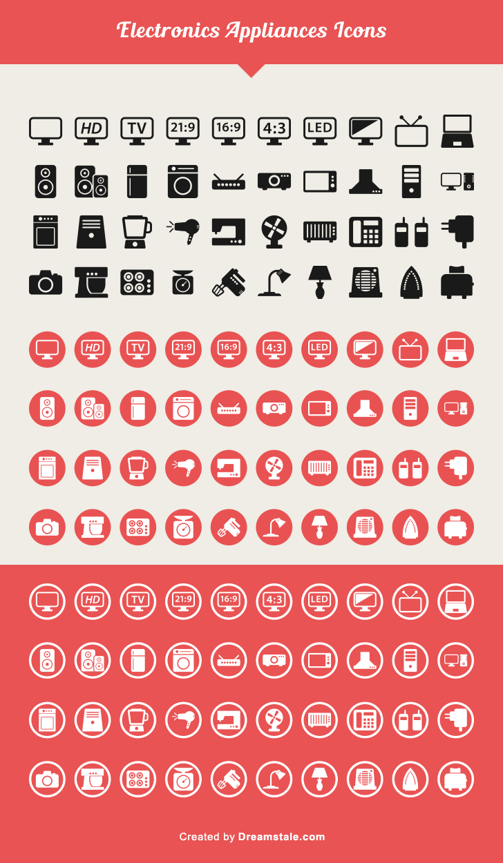 free download 40 electronic appliances icons large