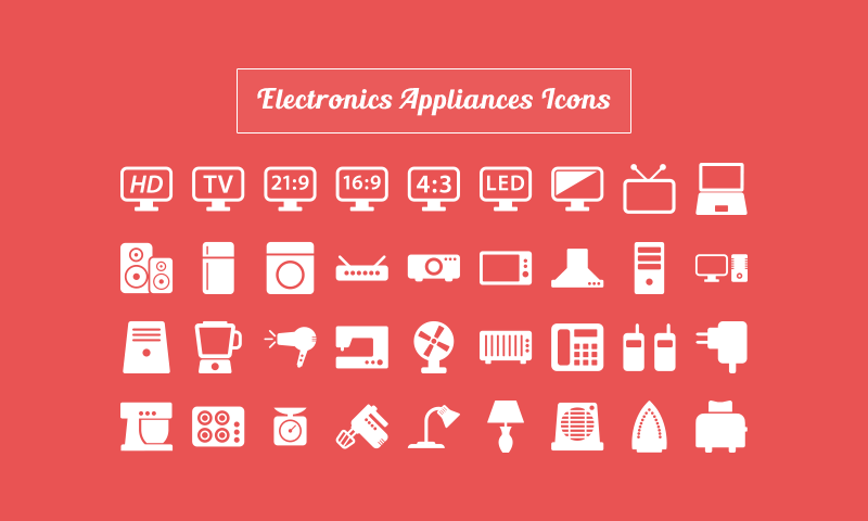 free download 40 electronic appliance icons