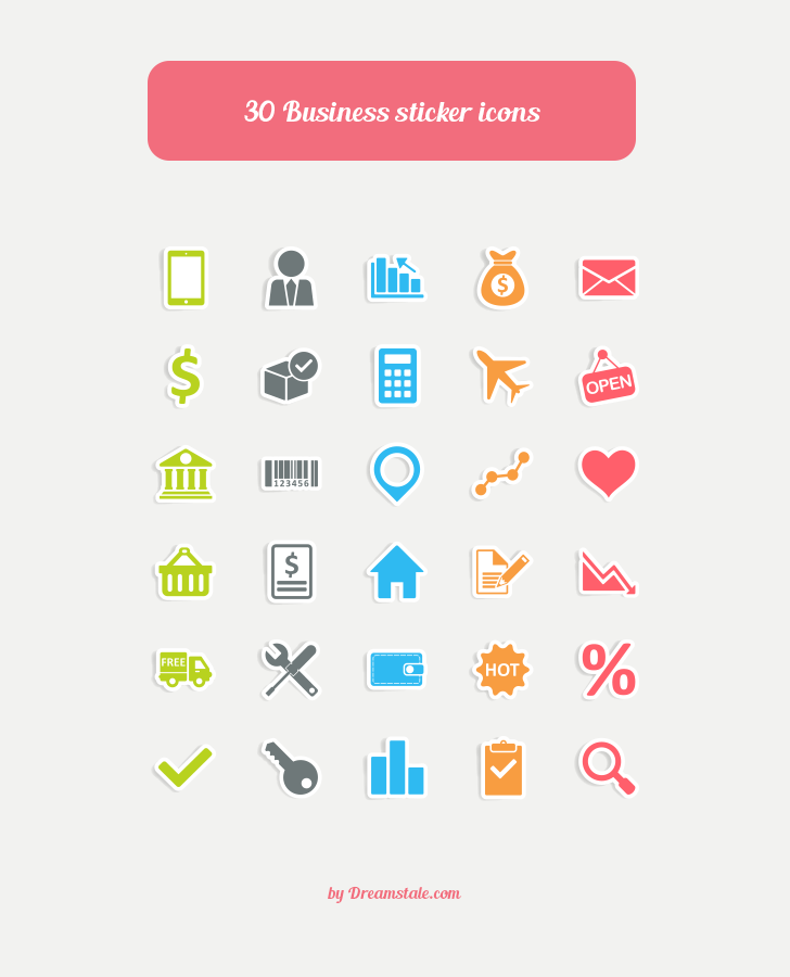 Freebie 30 Business Sticker Vector Icons 1