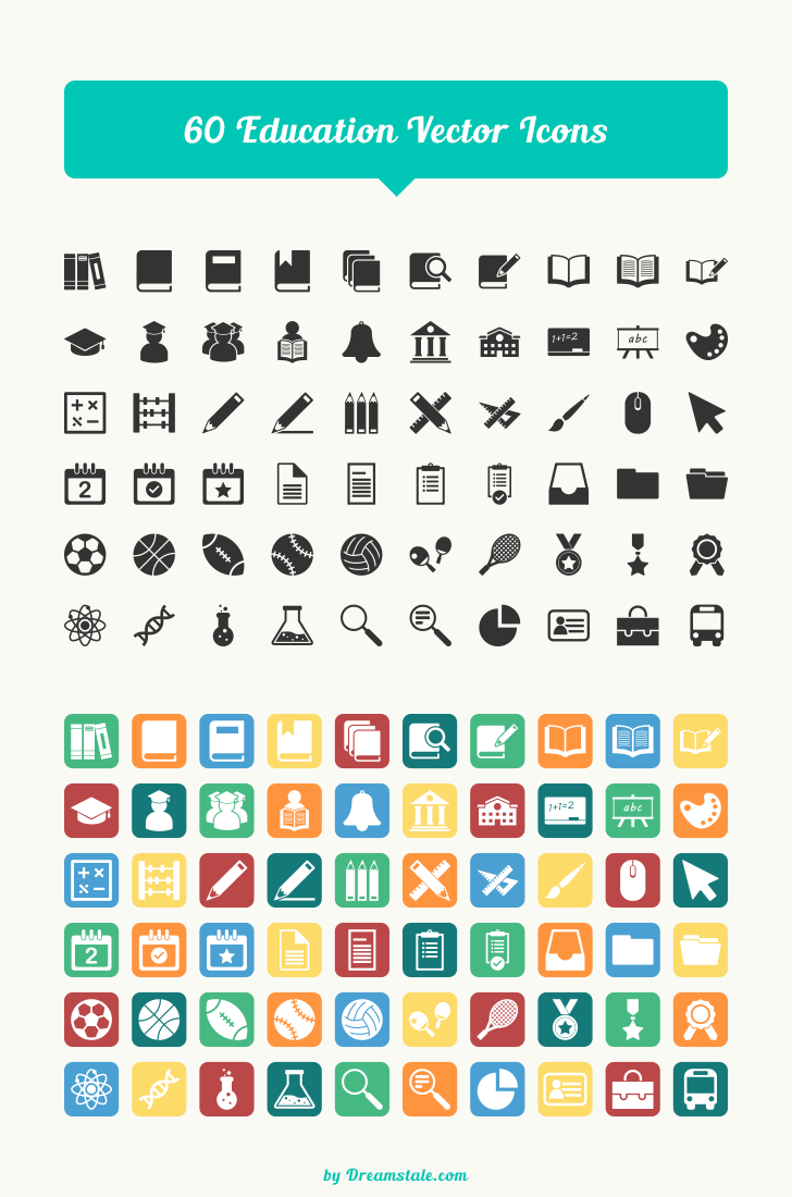 freebie 60 education vector icons large