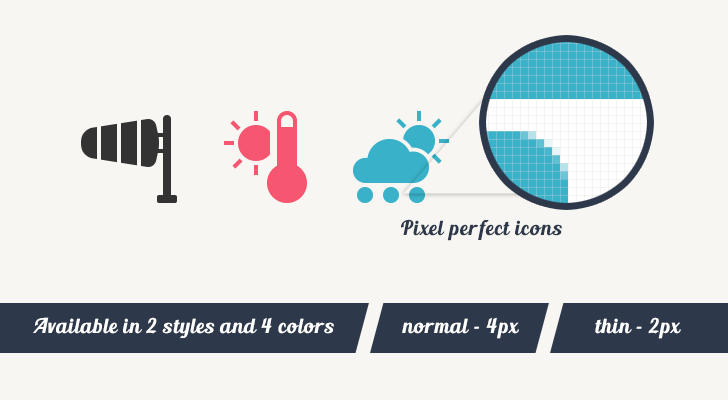 pixel perfect weather vector icons