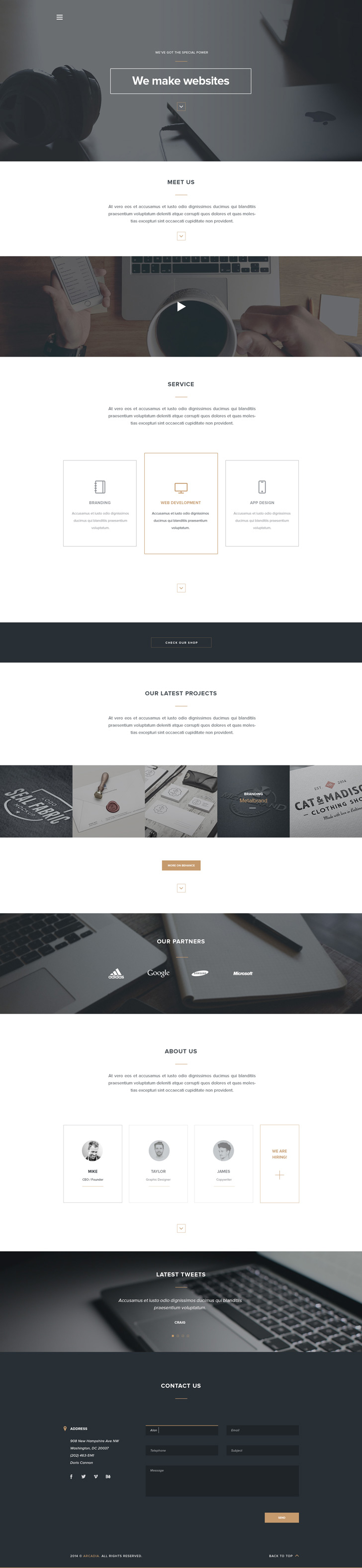 arcadia free psd template landing page