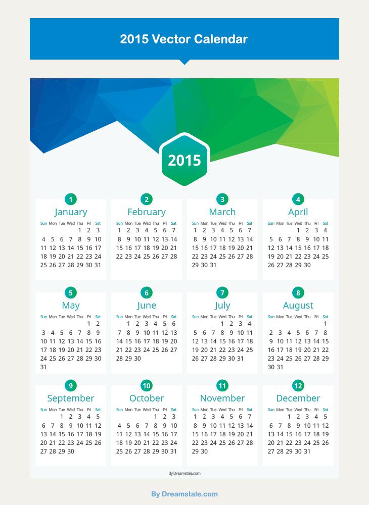 freebie flat calendar 2015 vector large